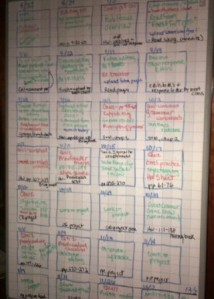 I like to use a white board--I can erase easily!