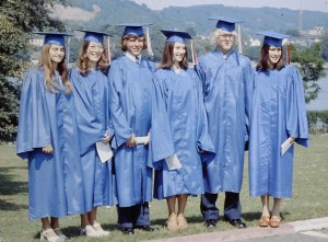 Some of my fellow graduates. BAHS 1976. That's me second from the left. Our tassels were red, white, and blue to commemorate America's 200th birthday.
